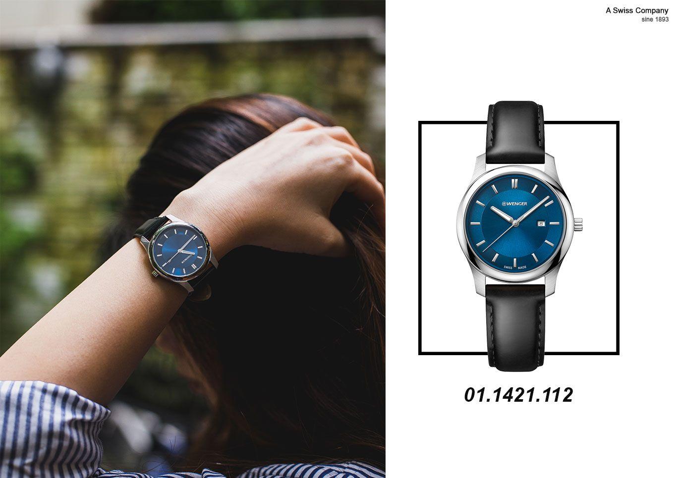 Đồng hồ nữ màu xanh dương Wenger 01.1421.112
