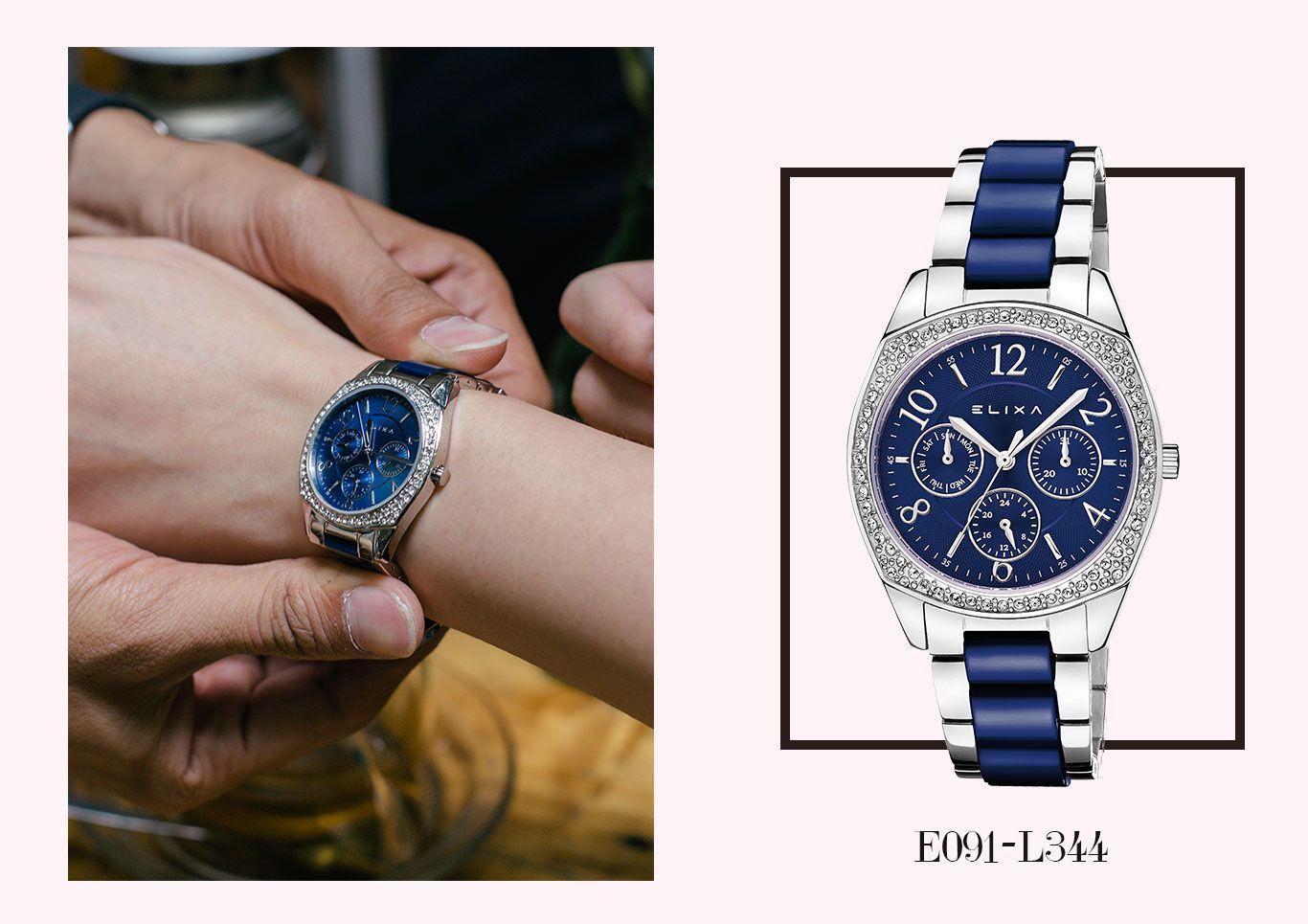 Đồng hồ nữ màu xanh dương Elixa E111-L449