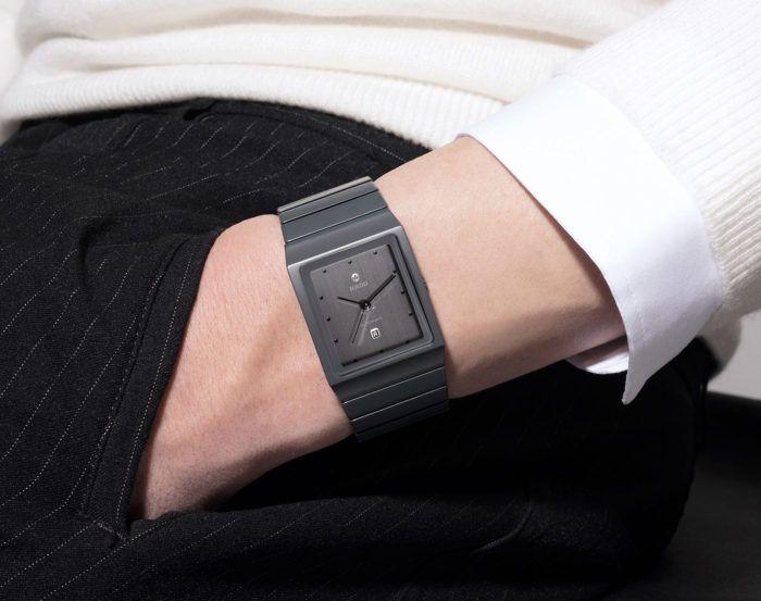 đồng hồ rado mặt vuông nam màu đen