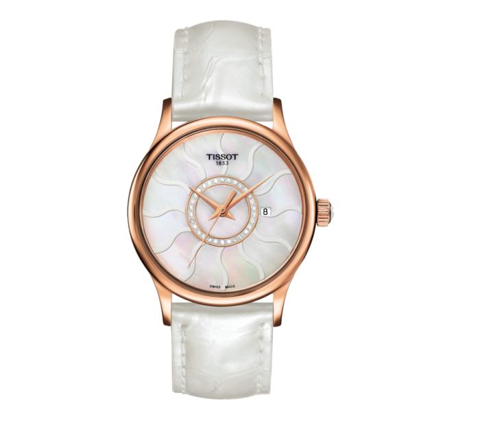 Đồng hồ nữ Tissot đẹp Rose Dream Gold khảm xà cừ lấp lánh