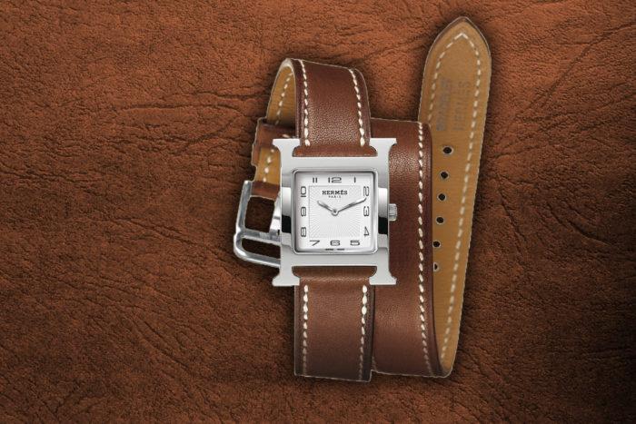 Đồng hồ dây da mặt chữ nhật Hermes- Phong thủy và thời trang