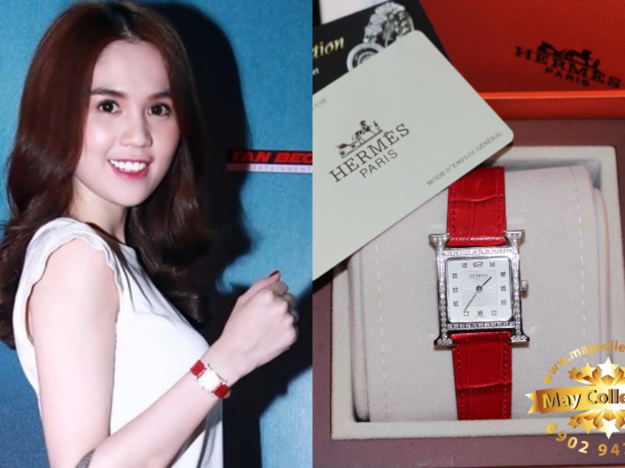 """đồng hồ dây da nữ mặt vuông Hermes là món phụ kiện yêu thích của nữ hoàng bikini Châu Á """"Ngọc Trinh"""""""