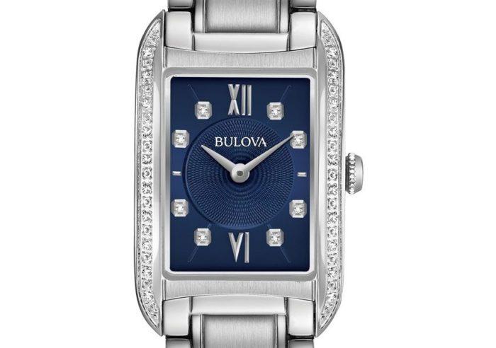 đồng hồ Bulova mặt vuông đính kim cương