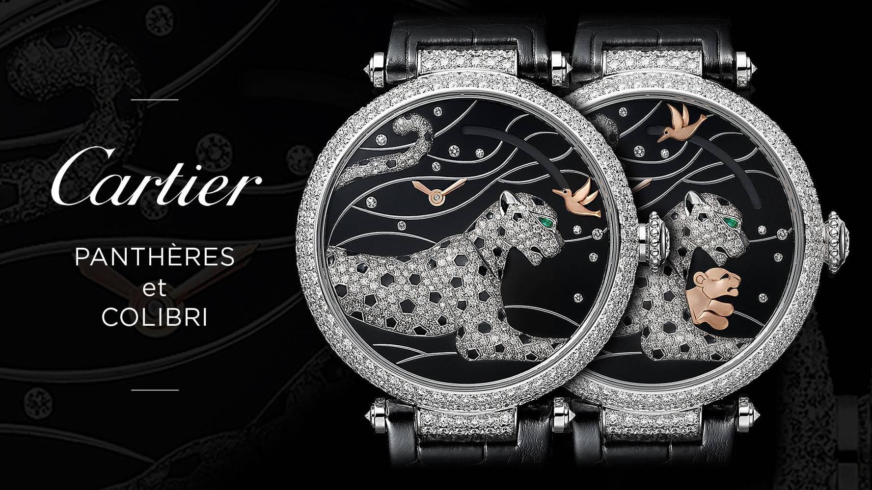 đồng hồ Cartier đính đá mẫu Panthères et Colibri