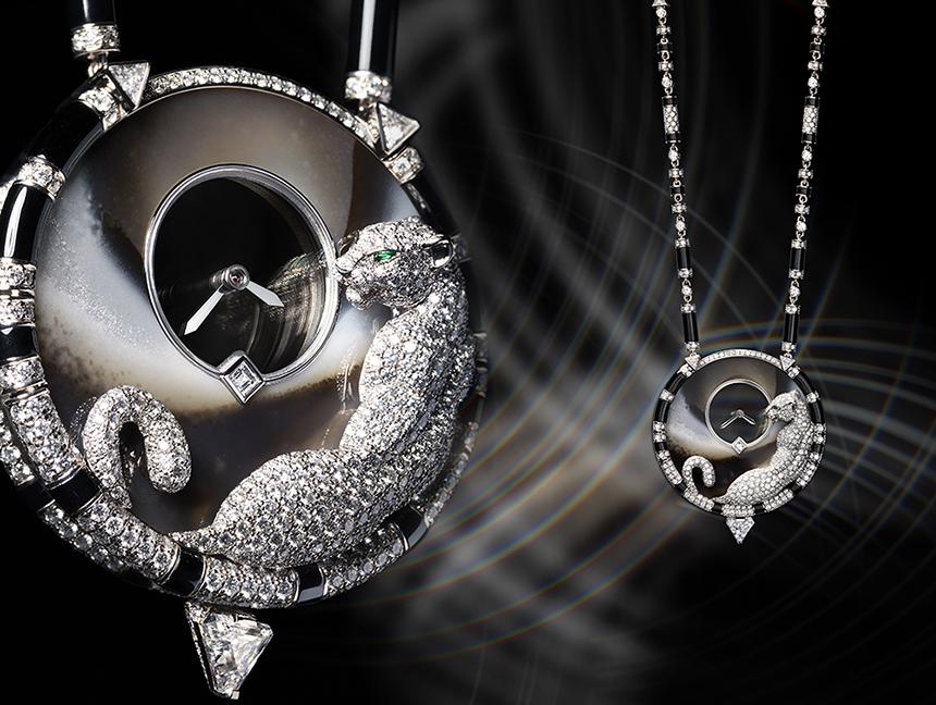 đồng hồ Cartier đính đá Panthere Mysterieuse Pendant