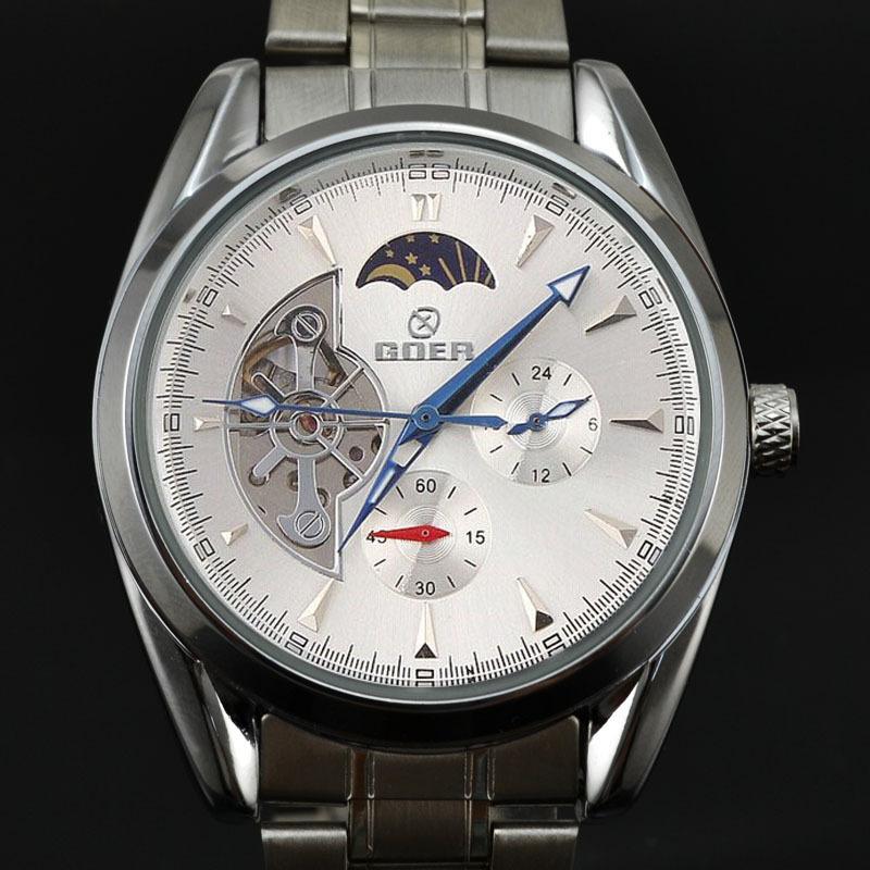 đồng hồ cơ không pin goer cao cấp dây kim loại