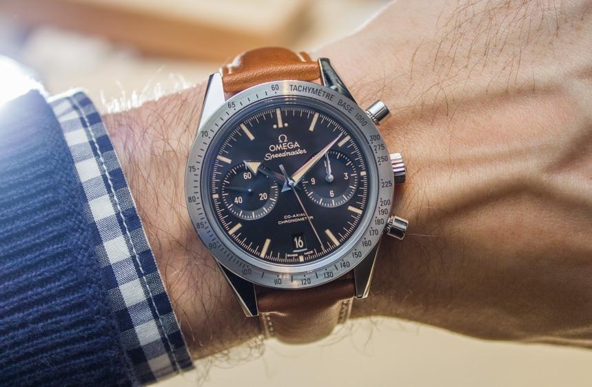 đồng hồ cơ dây da nhà omega