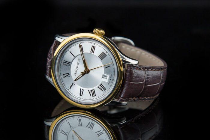 Đồng hồ dây da nam đẹp Aerowatch