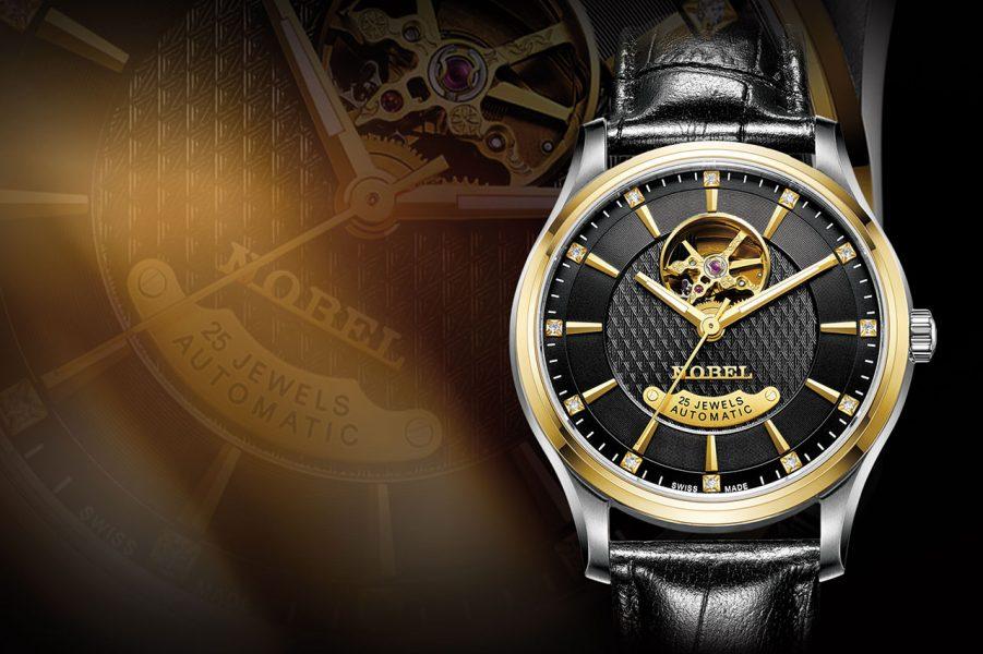 đồng hồ dây da nam đẹp Nobel