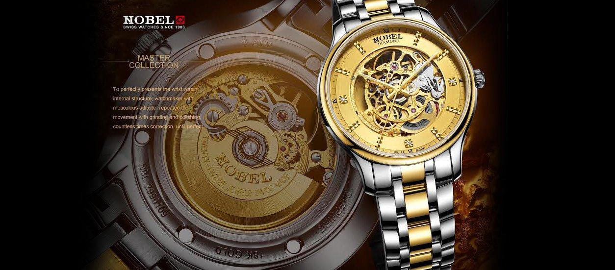 đồng hồ nam dây kim loại Nobel