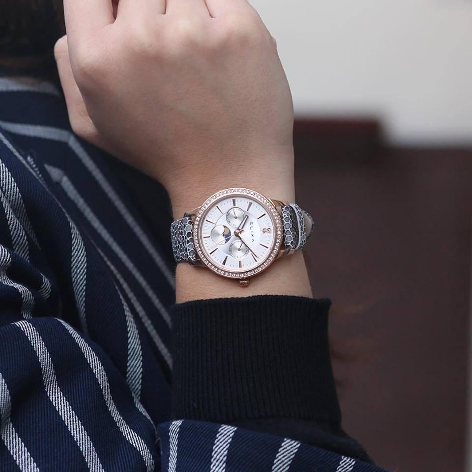 Đồng hồ nữ quai da hàng hiệu -Elixa