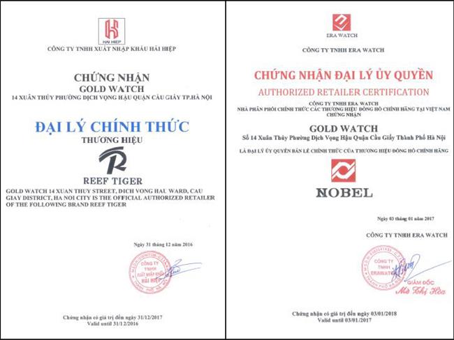 Nhận biếtcửa hàng đồng hồ uy tín qua giấy chứng nhận kinh doanh