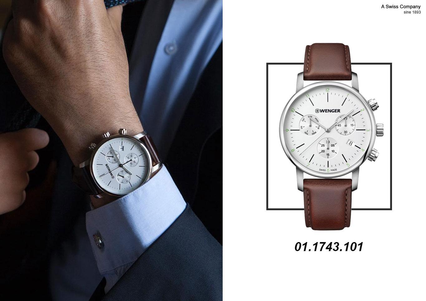 Đồng hồ nam 6 kim dây da giá rẻ chỉ hơn 7 triệu - Wenger
